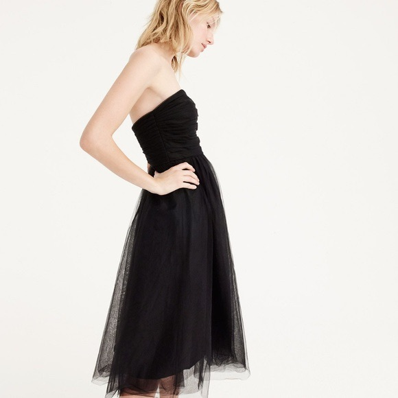 NWT J. Crew tulle pleated strapless dress in black